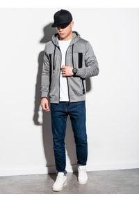 Ombre Clothing - Bluza męska rozpinana z kapturem B1073 - szary melanż - XL. Typ kołnierza: kaptur. Kolor: szary. Materiał: poliester, bawełna, materiał. Wzór: melanż