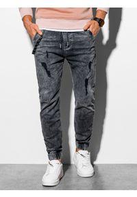 Ombre Clothing - Spodnie męskie jeansowe joggery P939 - grafitowe - XXL. Kolor: szary. Materiał: jeans