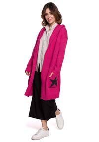 Różowy sweter BE Knit z kapturem, długi, sportowy