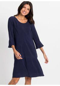 Sukienka, rękawy 3/4 bonprix ciemnoniebieski. Kolor: niebieski
