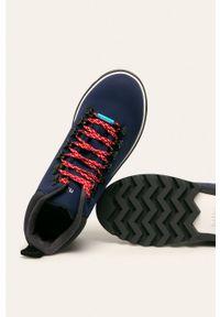 Niebieskie botki Native z okrągłym noskiem, z cholewką, na sznurówki