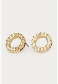 Złote kolczyki DKNY z kryształem, metalowe