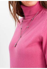 Różowy sweter bonprix z golfem, krótki