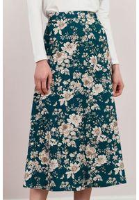 Marie Zélie - Spódnica Rachela Arcevia zielona. Kolor: zielony. Materiał: bawełna, wiskoza, tkanina. Wzór: gładki