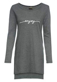 Długi shirt z rozcięciami i nadrukiem bonprix ciemnoszary melanż. Kolor: szary. Długość: długie. Wzór: nadruk, melanż