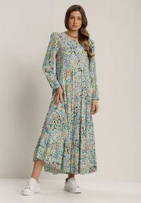 Renee - Czarno-Niebieska Sukienka Thespesis. Kolor: czarny. Długość rękawa: długi rękaw. Wzór: kwiaty. Długość: maxi