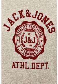 Jack & Jones - Bluza. Okazja: na co dzień. Kolor: szary. Materiał: dzianina. Wzór: nadruk. Styl: casual