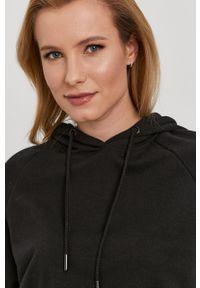 Czarna bluza only z kapturem, raglanowy rękaw, gładkie