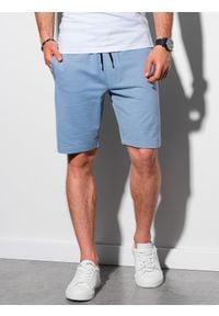 Ombre Clothing - Krótkie spodenki męskie dresowe W291 - błękitne - XXL. Kolor: niebieski. Materiał: dresówka. Długość: krótkie. Styl: klasyczny