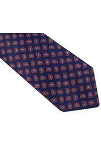 Modini - Granatowy krawat męski w czerwony paisley D108. Kolor: niebieski, czerwony, wielokolorowy. Materiał: tkanina, mikrofibra. Wzór: paisley