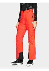 4f - Spodnie narciarskie damskie. Kolor: czerwony. Materiał: materiał. Sezon: zima. Sport: narciarstwo