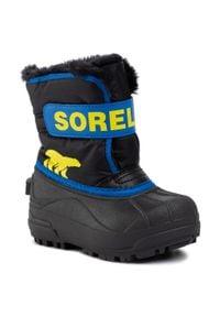 sorel - Śniegowce SOREL - Childrens Snow Commander NC1960 Black/Super Blue 011. Kolor: czarny. Materiał: guma, materiał, skóra ekologiczna