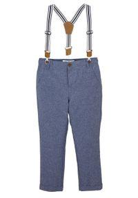 Spodnie chino chłopięce na szelkach bonprix niebieski melanż. Kolor: niebieski. Wzór: melanż