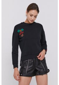 After Label - Bluza bawełniana. Kolor: czarny. Materiał: bawełna. Długość rękawa: długi rękaw. Długość: długie. Wzór: aplikacja