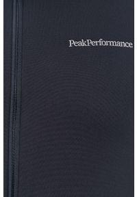 Niebieska bluza rozpinana Peak Performance bez kaptura, raglanowy rękaw, z aplikacjami