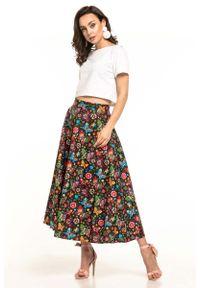 Czarna spódnica rozkloszowana Tessita długa, w kwiaty