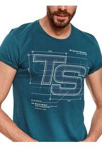 Zielony t-shirt TOP SECRET z krótkim rękawem, z nadrukiem