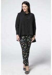 Czarna koszula Nommo plus size, z asymetrycznym kołnierzem, elegancka