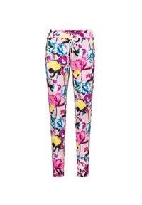 Sportalm - Spodnie SPORTALM SODIANA. Kolor: różowy. Materiał: elastan, skóra, materiał. Wzór: kwiaty, aplikacja