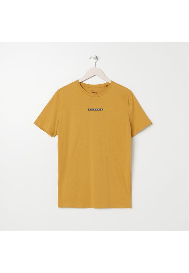 Żółty t-shirt Sinsay z nadrukiem