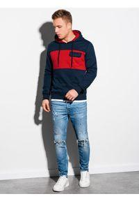 Ombre Clothing - Bluza męska z kapturem B1072 - granatowa - XXL. Typ kołnierza: kaptur. Kolor: niebieski. Materiał: bawełna, poliester