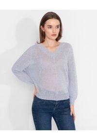 CAPPELLINI - Niebieski sweter z lnu. Kolor: niebieski. Materiał: len. Długość rękawa: długi rękaw. Długość: długie. Styl: sportowy