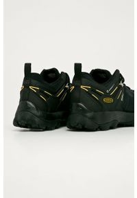 Czarne buty trekkingowe keen na sznurówki, z okrągłym noskiem, z cholewką