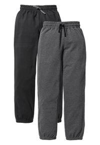 Spodnie chłopięce dresowe (2 pary) bonprix czarny + antracytowy melanż. Kolor: czarny. Materiał: dresówka. Wzór: melanż. Styl: klasyczny, retro