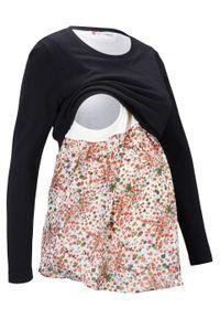 Sweter ciążowy i do karmienia piersią w optyce 2 w 1 bonprix czarny. Kolekcja: moda ciążowa. Kolor: czarny. Wzór: kwiaty