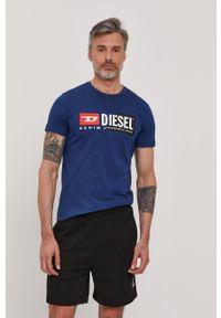 Diesel - T-shirt. Okazja: na co dzień. Kolor: niebieski. Materiał: dzianina. Wzór: nadruk. Styl: casual