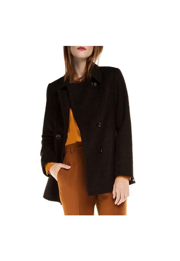 Czarny płaszcz Wittchen krótki, klasyczny, z klasycznym kołnierzykiem, na lato