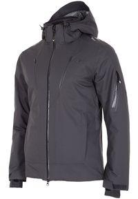Czarna kurtka narciarska 4f z kapturem, Dermizax, z nadrukiem