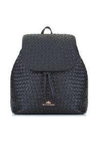 Wittchen - Damski plecak skórzany pleciony. Kolor: czarny. Materiał: skóra. Wzór: haft. Styl: elegancki