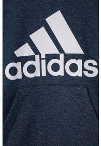 Niebieska bluza Adidas z nadrukiem, na co dzień, z kapturem