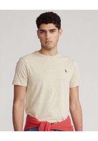 Ralph Lauren - RALPH LAUREN - Męski t-shirt z logo Custom Slim Fit. Typ kołnierza: polo. Kolor: beżowy. Materiał: bawełna. Wzór: melanż, haft