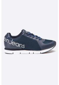 Niebieskie sneakersy Calvin Klein Jeans z cholewką, z okrągłym noskiem