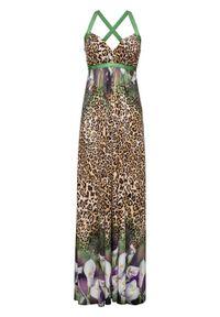 Brązowa sukienka bonprix z nadrukiem, na lato, maxi