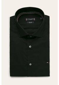 Czarna koszula Tommy Hilfiger Tailored gładkie, klasyczna, długa