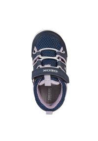 Niebieskie buty sportowe Geox z okrągłym noskiem, z cholewką