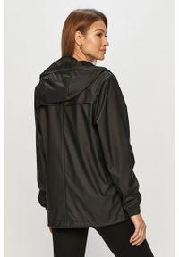 Czarna kurtka Rains z kapturem, gładkie