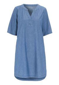 Cellbes Sukienka dżinsowa z rękawem 3/4 denim blue female niebieski 50/52. Typ kołnierza: dekolt w serek. Kolor: niebieski. Materiał: denim