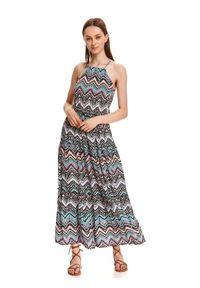 TOP SECRET - Sukienka maxi w kolorowe wzory. Typ kołnierza: dekolt halter. Kolor: turkusowy. Materiał: dzianina. Długość rękawa: na ramiączkach. Wzór: kolorowy. Długość: maxi