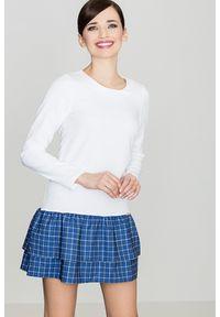 e-margeritka - Sukienka z falbaną w kratę niebieska - l. Okazja: na co dzień. Kolor: niebieski. Materiał: poliester. Długość rękawa: długi rękaw. Typ sukienki: proste. Styl: casual. Długość: mini