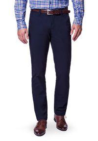 Lancerto - Spodnie Chino Kevin II Navy. Okazja: na co dzień. Kolor: niebieski. Materiał: elastan, materiał, bawełna. Wzór: kolorowy. Styl: sportowy, casual