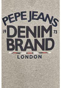 Szara bluza nierozpinana Pepe Jeans z nadrukiem, na co dzień, casualowa, z okrągłym kołnierzem
