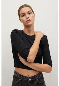 Czarna bluzka z długim rękawem mango na co dzień, casualowa