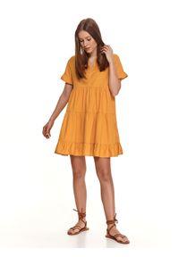 Żółta sukienka TOP SECRET mini, koszulowa, z falbankami