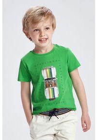 Zielony t-shirt Mayoral z nadrukiem, na co dzień, casualowy