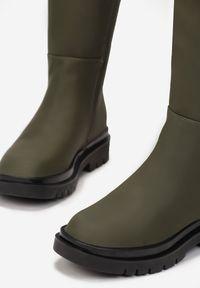 Born2be - Oliwkowe Kozaki Nyreo. Wysokość cholewki: przed kolano. Zapięcie: zamek. Kolor: brązowy. Szerokość cholewki: normalna. Wzór: aplikacja. Sezon: jesień, zima