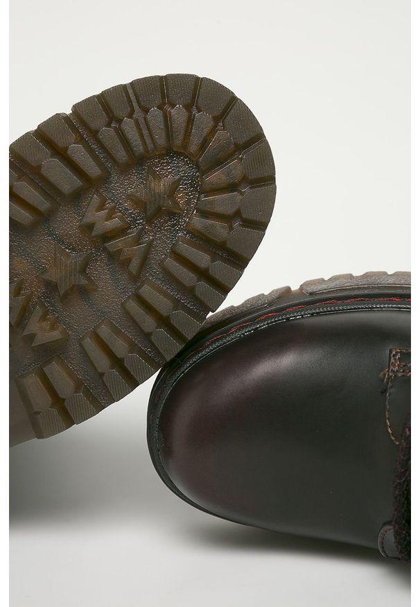 Brązowe botki Wrangler z okrągłym noskiem, na zamek, z cholewką